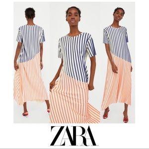 NEW ZARA STRIPE ACCORDION PLEATED MAXI DRESS
